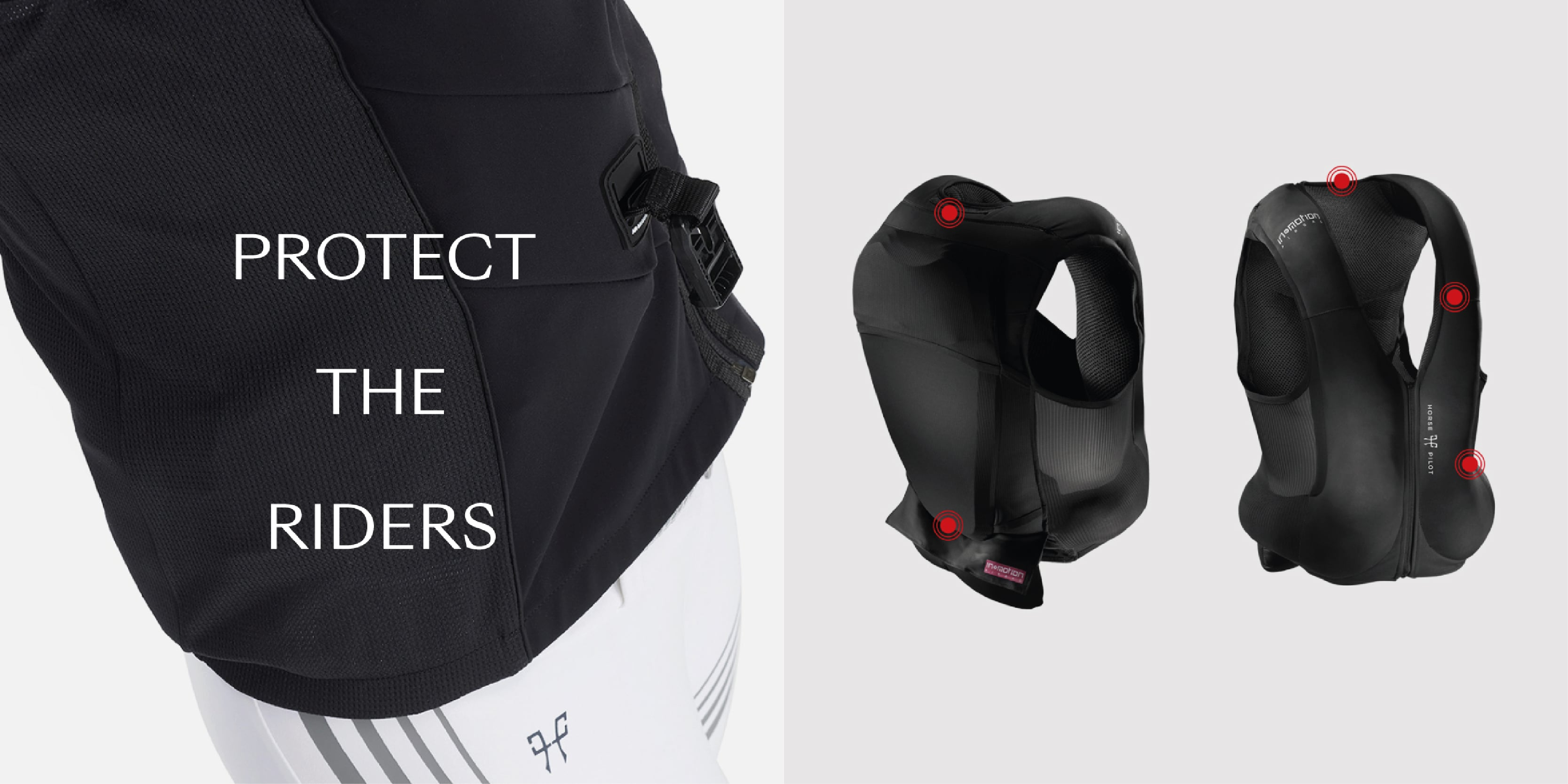 The rider airbag waistcoat inflates at the rear and front to protect the rider's vital areas.